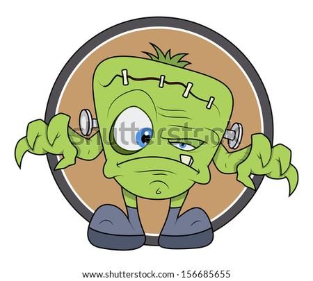 Frankenstein monster cartoon - Halloween vector illustration - stock vector