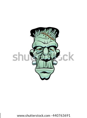 Frankenstein's monster face - stock vector