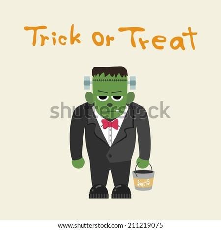 Frankenstein, trick or treat - stock vector