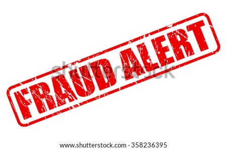 FRAUD ALERT red stamp text on white
