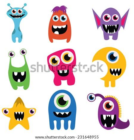 freaky happy monsters set - stock vector