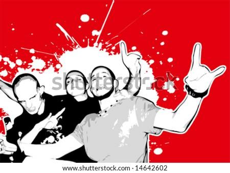 Freaky red guys - stock vector