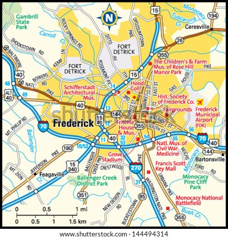 Frederick Maryland Area Map Stock Vector 144494314 Shutterstock