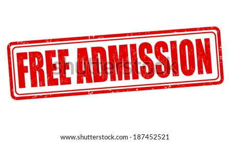 Free admission grunge rubber stamp on white, vector illustration - stock vector