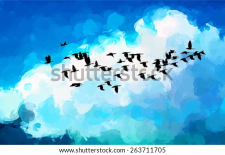 Free birds on sky brush strokes background. Vector version