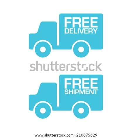 Free Delivery and Shipment Truck Labels - stock vector