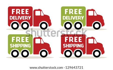 Free delivery and shipping truck icons - stock vector