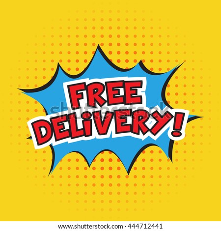 free delivery banner design. Vector illustration. Cartoon. Dotted background - stock vector