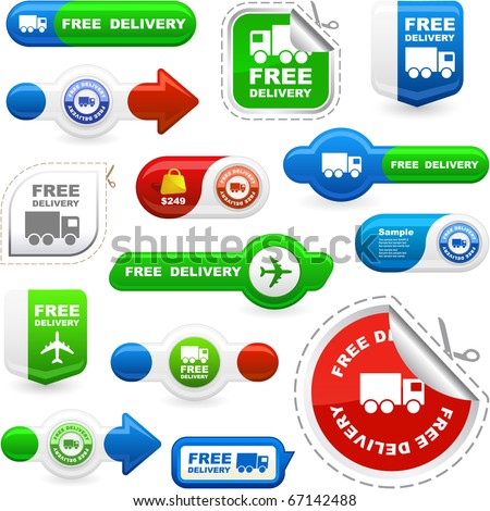 Free delivery elements for sale. Great collection. - stock vector