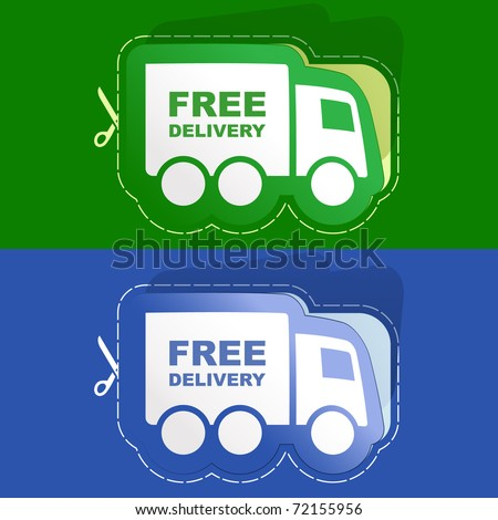 Free delivery elements for sale. Sticker set. - stock vector