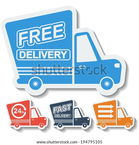 Free delivery, fast delivery colorful icons set with blend shadows. Vector.