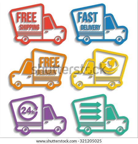 Free delivery, fast delivery, free shipping, around the world, around the clock colorful logo icons set with blend shadows on white background. Vector delivery service concept - stock vector