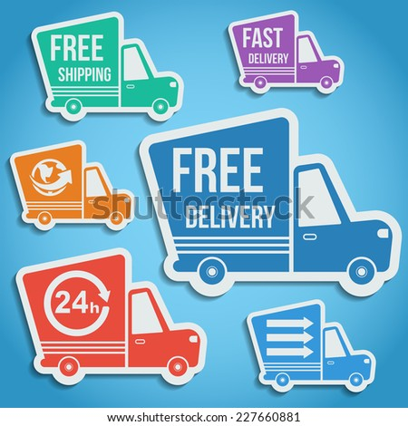 Free delivery, fast delivery, free shipping, around the world, around the clock shuttle truck colorful icons set with blend shadows. Vector. - stock vector