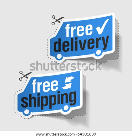 Free delivery, free shipping labels. Vector.