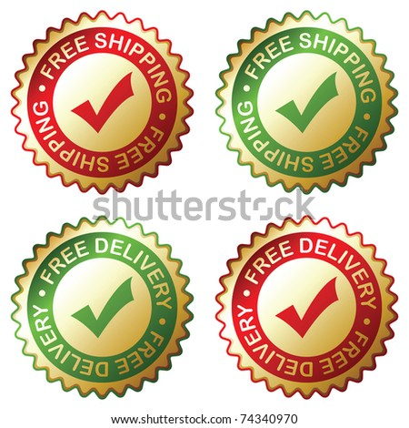 Free delivery, free shipping labels. Vector EPS 8. - stock vector