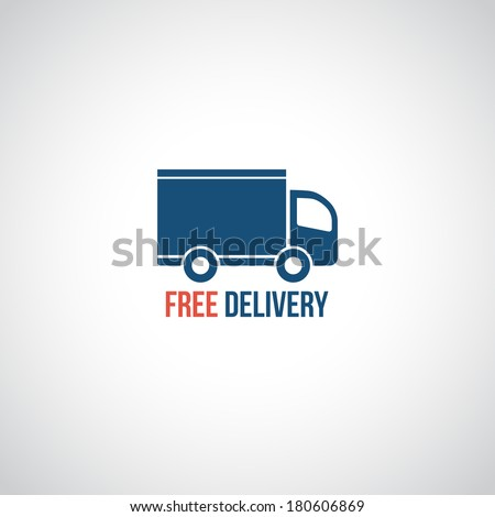 Free delivery icon, vector symbol car carrying cargo - stock vector