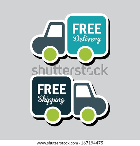 free delivery over gray background vector illustration  - stock vector