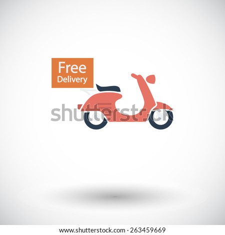 Free Delivery. Single flat icon on white background. Vector illustration. - stock vector