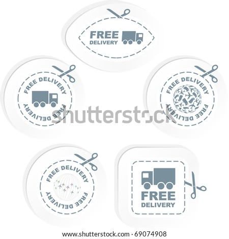 Free delivery sticker set for sale. - stock vector