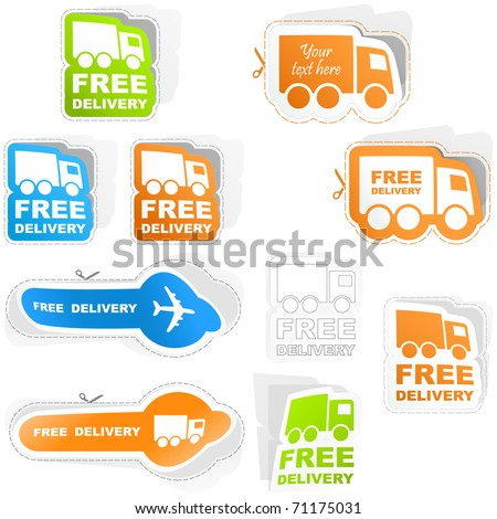 Free delivery - truck collection for sale. Move delivery. Different van with free shipping text - stock vector