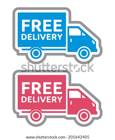 Free delivery truck - free shipping label