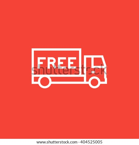 Free delivery truck line icon. - stock vector