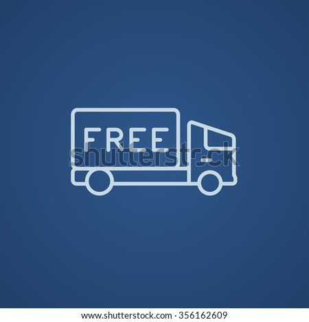 Free delivery truck line icon for web, mobile and infographics. Vector light blue icon isolated on blue background. - stock vector