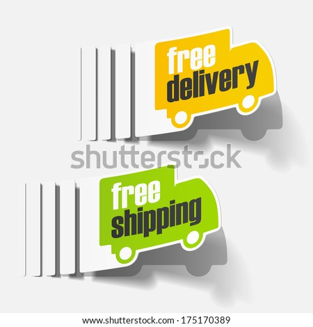 free delivery truck sticker - stock vector