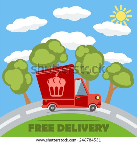 Free delivery van truck with cake vinyl logo on the road with trees, clouds and sun. Vector concept. - stock vector
