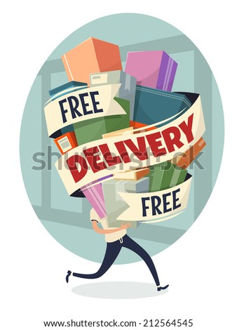 Free delivery. Vector illustration. - stock vector