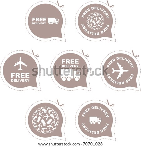 Free delivery - vector seal stamp. Courier icons. Moving truck.