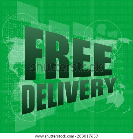 free delivery word on a virtual digital background, vector