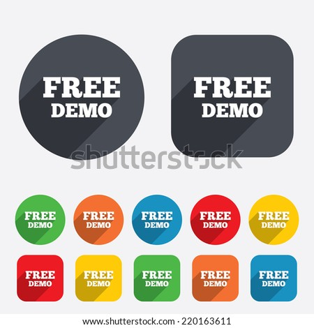 Free Demo sign icon. Demonstration symbol. Circles and rounded squares 12 buttons. Vector