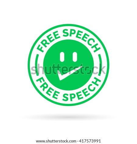 Free democracy - freedom of speech icon symbol. Vector illustration. - stock vector