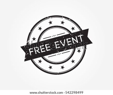 free event. black stamp sign