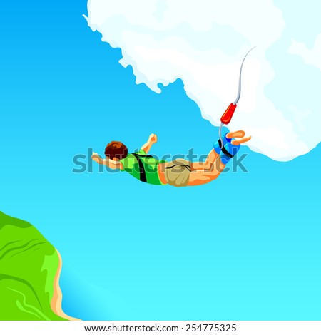 Free fall from the sky on bungee rope - stock vector