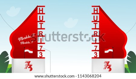 Free Gate Design 1 Special Indonesia Independence Day 73 TH Flag red and white