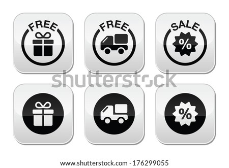 Free gift, free delivery, sale buttons set - stock vector