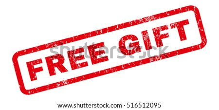Free Gift text rubber seal stamp watermark. Tag inside rectangular shape with grunge design and dust texture. Slanted vector  ink sticker on a white background.