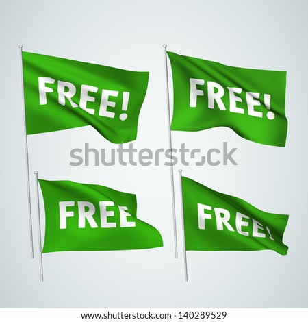 Free - green vector flags. A set of wavy 3D flags created using gradient meshes. EPS 8 vector - stock vector