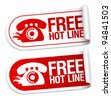 Free Hot Line stickers set. - stock photo
