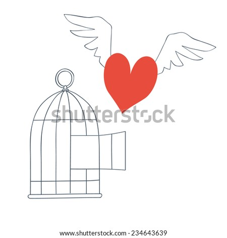free love heart with wings - stock vector