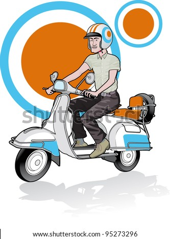 free man rides scooter to the city cool background - stock vector