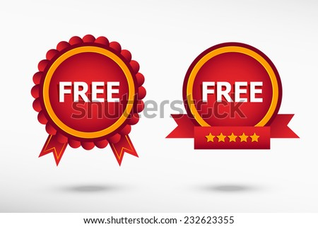 Free message stylish quality guarantee badges. Colorful Promotional Labels - stock vector