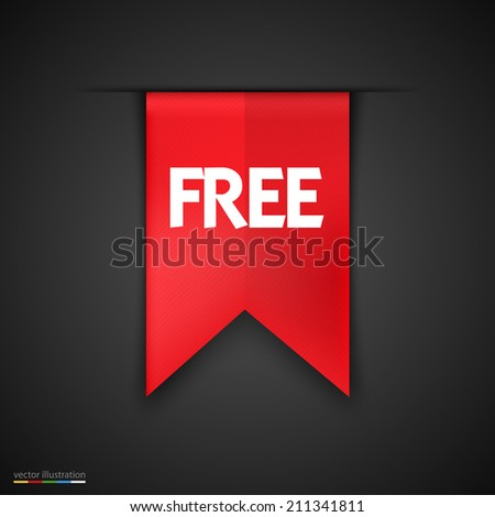 Free Product Red Label Icon Vector Design. Dark background - stock vector