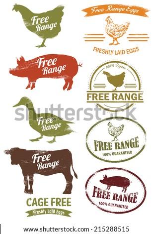 Free Range Meat Stamp, vector - stock vector