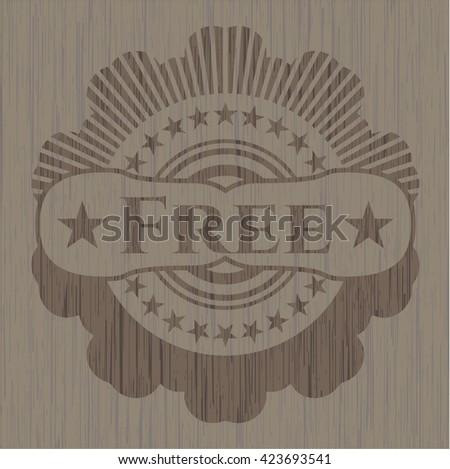 Free realistic wooden emblem - stock vector