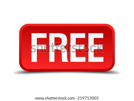 Free red 3d square button isolated on white background - stock vector