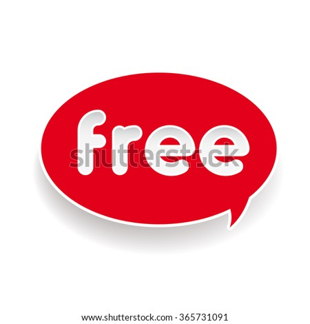 Free red label speech bubble - stock vector