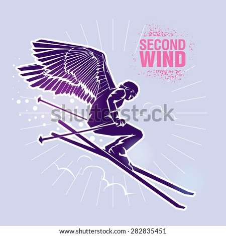"Free-ride skier. Vector illustration created in topic ""Second wind "" - stock vector"